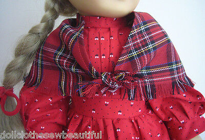 "Red School Dress + Shawl + Ribbons made for Pioneer Era 18"" Kirsten Doll Clothes 2"