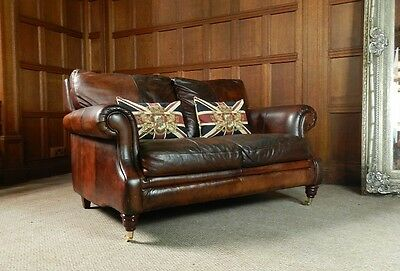 PAIR of VICTORIAN STYLE HAND DYED CIGAR CONKER BROWN LEATHER CLUB ARMCHAIRS 7