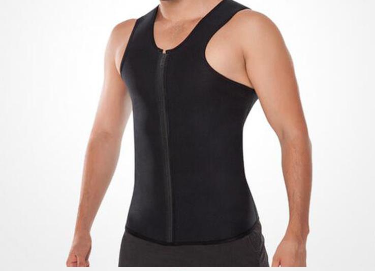 Men Sweat Vest Body Shaper Zipper Slimming Sauna Tank Top Neoprene Chaleco S-3XL