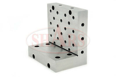 "SHARS Angle Plate 6x6x4x1-1//4/"" Precision Steel Ground 0.0002/"" w Tapped Holes"