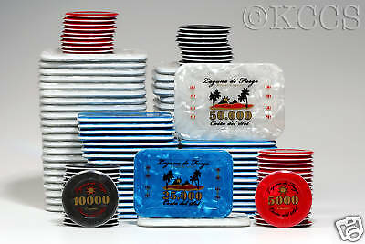 200 Colorful Acrylic JETONS with Plastic Covered Cases Poker Table Games *