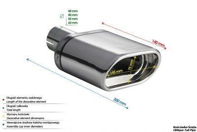 Ulter Endrohr Auspuffblende 145x75mm oval FIAT FORD HONDA NISSAN