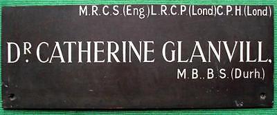 c1900 Brass Vintage Sign Plaque Glasgow Dr Catherine Glanvill Surgeon Physician 3