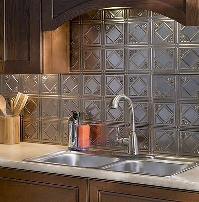 Astounding Kitchen Backsplash Silver Decorative Vinyl Panel Wall Tiles Bathroom Metal Tin Download Free Architecture Designs Remcamadebymaigaardcom