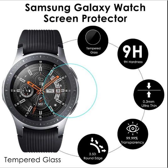 3xPACK Genuine Samsung Galaxy Watch 42/46mm 9H Tempered Glass Screen Protector 2
