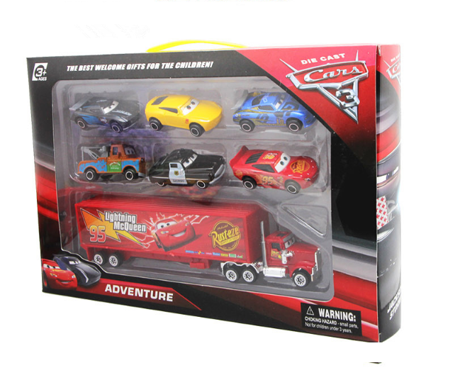 Cars 2 Lightning McQueen Racer Car&Mack Truck Kids Toy Collection Set Gifts 7PCS 2