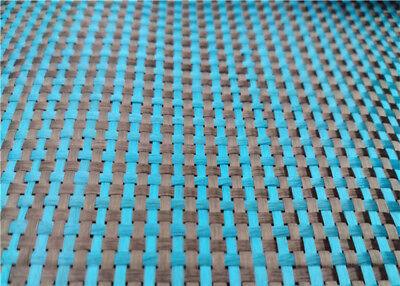230gsm Lake Blue Aramid Carbon Fiber Blended Fabric mixed carbon cloth 100*50CM 2