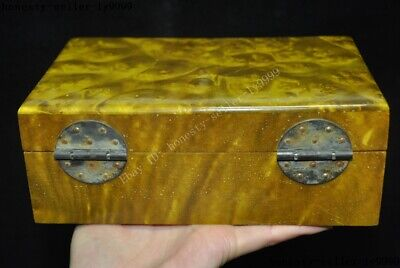 Old China palace Gold-rimmed nanmu Wood carved statue Jewelry Box storage boxes 4