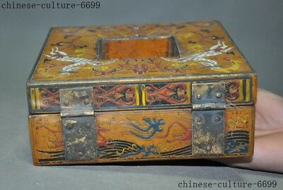 "7"" Rare old Chinese lacquerware wood carving Sika deer Storage Jewelry box case 4"