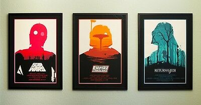⭐VERY RARE⭐️ Star Wars Trilogy A3 Mondo Poster Collection Prints Olly Moss