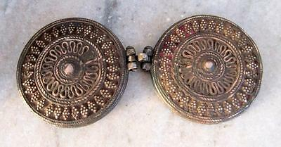 Antique Old Hand Carved Heavy Brass Beautiful Islamic Opium Unique Round Box 7