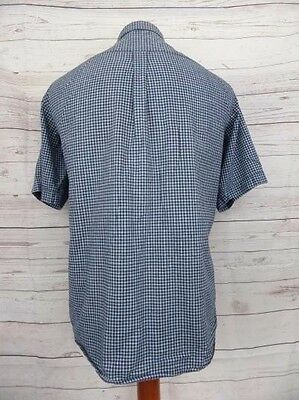 Vintage 90s S-Sleeve Blue Check Loose Fit Cotton Casual Shirt -L- CU63