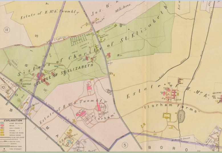 1910 AH MUELLER FLORHAM PARK MORRIS COUNTY NEW JERSEY BROOKLAKE FARM ATLAS MAP