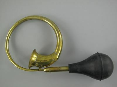 OLDTIMER HUPE POSTHORN BRASS TAXI HORN MESSING HUPE mit BLASEBALG FANFARE