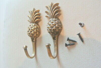 "4 very small PINEAPPLE BRASS HOOK COAT WALL MOUNTED HANG old style hook 3"" B 2"