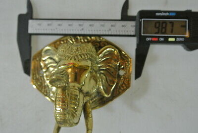 """ELEPHANT trunk up pull SOLID polished BRASS old style Handle hook 4 """" door B 5"""