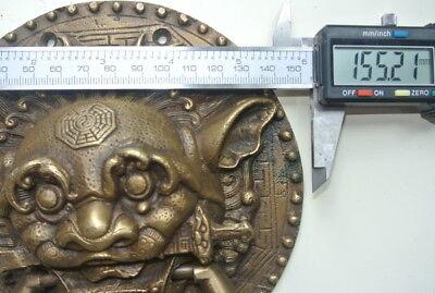 "large Solid foo dragon heavy pure Brass Door Knocker 7"" Chinese dog Head ring B 9"
