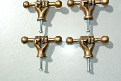4 small aged ANTIQUE 6.6 cm old style fist Cabinet Door solid pure Brass knob B 4