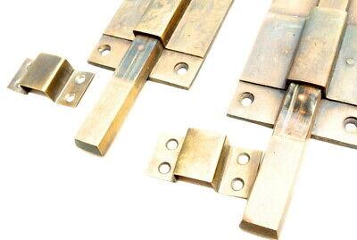 "2 long flush BOLT french aged style doors 18 "" heavy solid brass slide 47cm B 11"