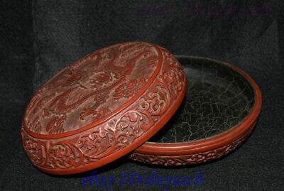 """8"""" Old Chinese Carved Lacquerware Craftwork Dragon pattern casket Jewelry Box 4"""