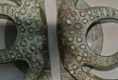 "set OCTOPUS Solid Brass hollow hand antique green Door PULL HANDLE 15"" aged B 8"