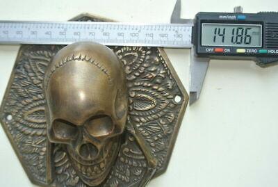 "heavy SKULL door KNOCKER head ring pull Handle pure brass 4"" day dead polished B 6"