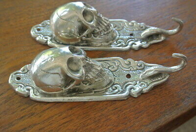 "2 small silver plated SKULL HOOKS BRASS old vintage style antique 6 "" long B 11"