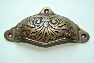 """4 cast engraved solid brass heavy shell shape pulls handle kitchen vintage 4"""" B 4"""
