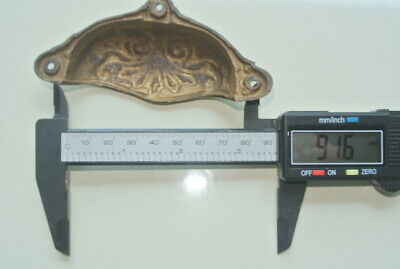 """4 cast engraved solid brass heavy shell shape pulls handle kitchen vintage 4"""" B 10"""