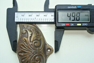 """4 cast engraved solid brass heavy shell shape pulls handle kitchen vintage 4"""" B 9"""