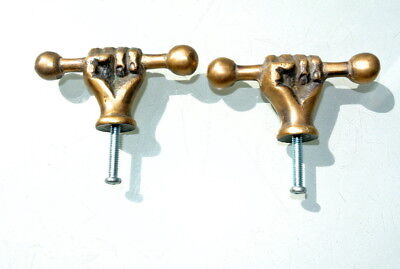 4 small aged ANTIQUE 6.6 cm old style fist Cabinet Door solid pure Brass knob B 9