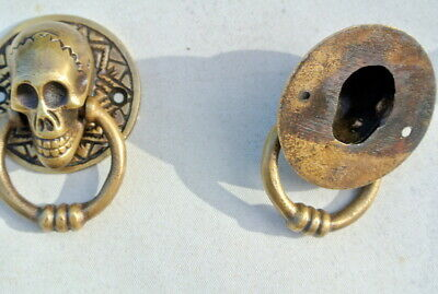 "2 small SKULL head handle DOOR PULL ring natural cast BRASS old style 5 cm 2"" 9"