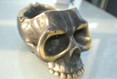 "SKULL head ash tray solid BRASS vintage style collect 6"" new day of the dead B 9"
