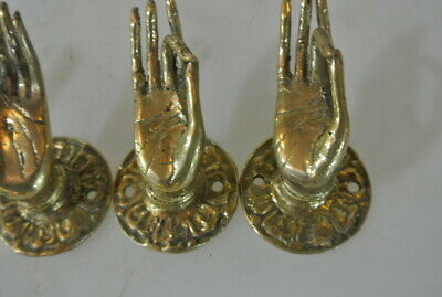 """4 polished tiny Pull handle hands buddha brass door old style knob hook 1.1/2"""" B 5"""