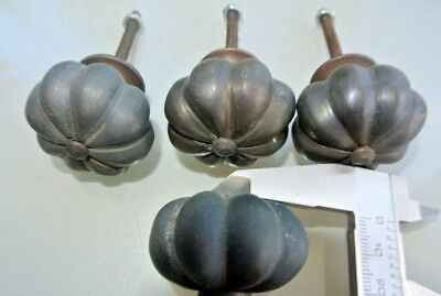 4 small KNOBS garlic shape pulls handles solid aged brass old style drop 36 mm B 2