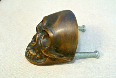 2 small Skull hardware cabinet Drawer 4cm Gothic Finger Pull Solid Brass 1.5/8 B 7
