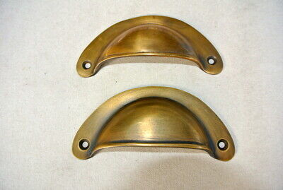"""4 heavy shell shape pulls handle antique solid brass vintage 4"""" vintage style B 7"""