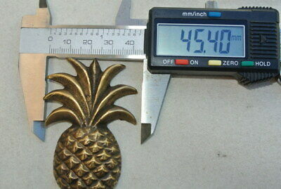 """4 small PINEAPPLE BRASS HOOK COAT WALL MOUNTED HANG TROPICAL old style hook 4"""" B 8"""
