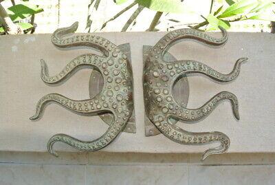 "set OCTOPUS Solid Brass hollow hand antique green Door PULL HANDLE 15"" aged B 9"