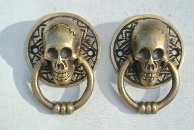 "2 small SKULL head handle DOOR PULL ring natural cast BRASS old style 5 cm 2"" 3"