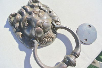 """LION head heavy front Door Knocker SOLID 100% BRASS vintage old style house 7"""" B 4"""