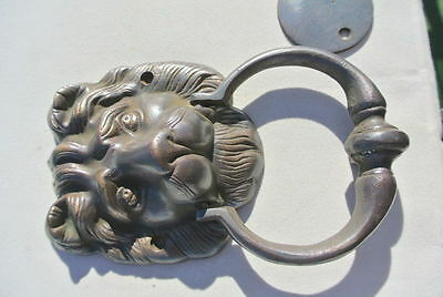 "2 LION head heavy  Door Knocker SOLID BRASS vintage antique style house 7"" B 7"