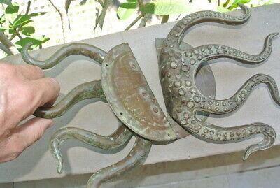 "set OCTOPUS Solid Brass hollow hand antique green Door PULL HANDLE 15"" aged B 6"