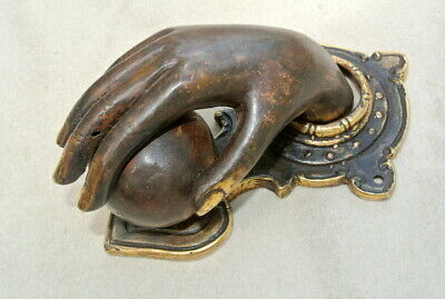 hand fist ball front Door Knocker fingers solid brass hollow 16 cm old style B 4