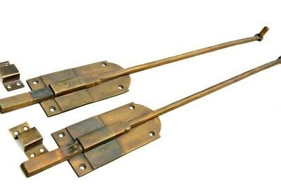 "2 long flush BOLT french aged style doors 18 "" heavy solid brass slide 47cm B 12"