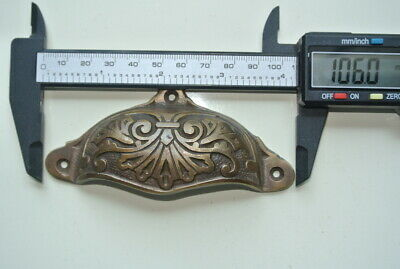 """4 cast engraved solid brass heavy shell shape pulls handle kitchen vintage 4"""" B 8"""