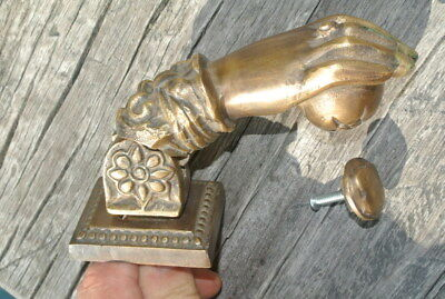 "5"" vintage style heavy front Door Knocker SOLID BRASS aged patina fist HAND B 12"
