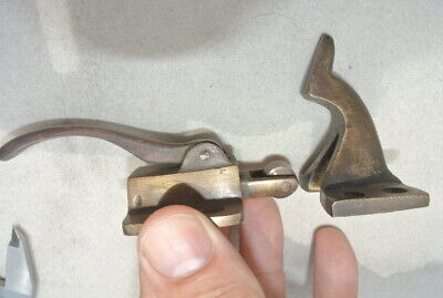 rare ICE BOX CATCH lever aged style solid Brass heavy offset hand made roller B 9