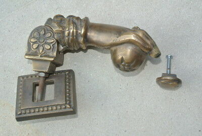 "5"" vintage style heavy front Door Knocker SOLID BRASS aged patina fist HAND B 3"