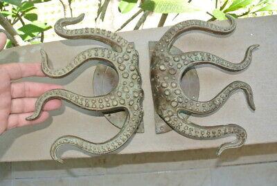 "set OCTOPUS Solid Brass hollow hand antique green Door PULL HANDLE 15"" aged B 3"